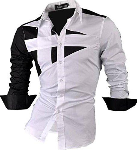 jeansian Herren Freizeit Hemden Shirt Tops Mode Langarmshirts Slim Fit 8397 White XL
