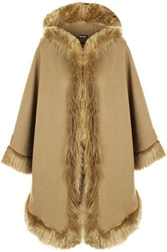 WearAll - Damen Ebene Faux Pelz Trimmen Abzugshaube Umhang Schal Mantel Poncho Mantel Top - Camel - Eine Größe