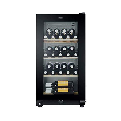 Refrigerador de Vino, Enfriador de Vino de Zona única para 35 Botellas, Compresor Enfriador de Botellas de Vino Anti-Rayos UV/Anti-Escarcha Puerta de Vidrio Templado Enfriador de Vino con Cerradura