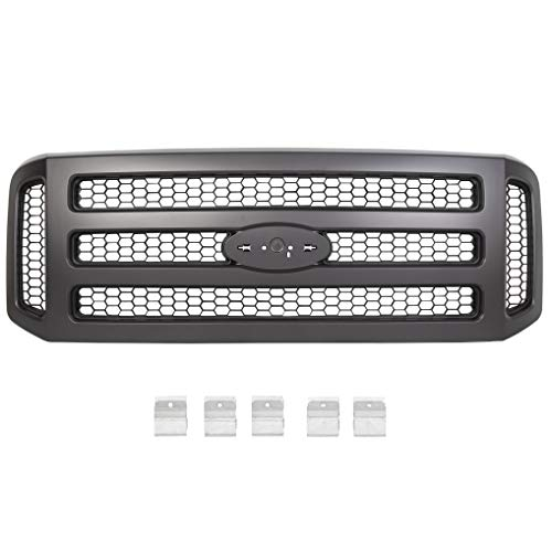 JMTAAT Black Paintable Grille Compatible With 05-07 Excursion F-250 F-350 F-450 F-550 Super Duty Conversion Grill (Without Emblem)