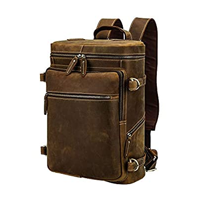 Men's Vintage Classic Leather Casual School Case Travel Weekender Outdoor Sports 15.6 Inch Laptop Suitcase Luggage Daypack Overnight Backpack Shoulder Bag Tote Handbag Light Brown