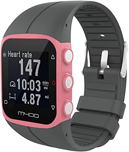 Classicase Correa de Reloj Compatible con Polar M400 / M430, Silicona Correa Reloj con Acero Inoxidable Hebilla desplegable (Pattern 4)
