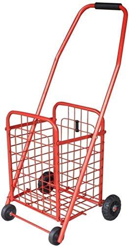 DEE Multifunktions-Einkaufswagen Wagen Einkaufswagen Supermarkt Wagen Eisenrahmen 35L Kapazität Tragbar Mit Radlagern Handwagen Lagerung Utility Trolley,Rot,26 * 24 * 76 cm