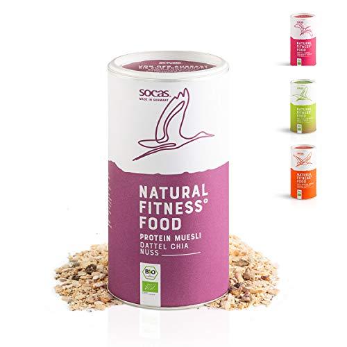 SOCAS Bio 31% Protein Müsli - Bio Low Carb Müsli ohne Zuckerzusatz Made in Germany - 420g Sojaflocken Müsli – Geschmack: Dattel Chia Nuss