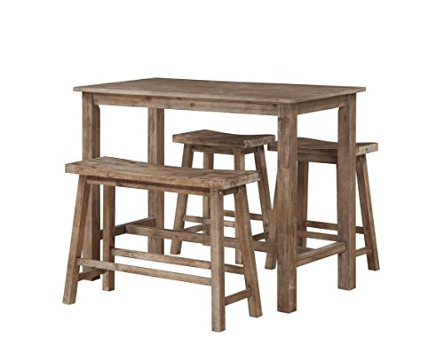 Boraam 75027 4 Piece Sonoma Pub Table Set, 36 x 47.25 x 23.75, Neutral Driftwood Gray Finish