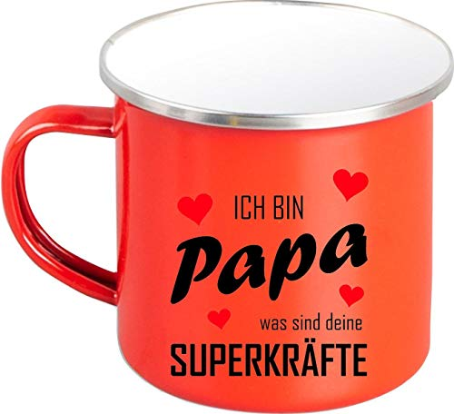 Shirtstown Taza esmaltada, diseño con texto en alemán 'Ich Bin Papa was sind Deine SUPERKRÄFTE', color rojo