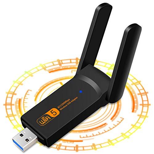 1900Mbps Adaptador WiFi USB, Receptor WiFi Inalámbrico con Doble Banda AC1900, Soporte...
