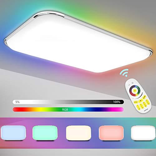 Hengda Led Deckenleuchte RGB 96W Dimmbar Wohnzimmerlampe mit Fernbedienung Deckenlampe für Wohnzimmer Küche Büro Schlafzimmer Kinderzimmer Modern IP44