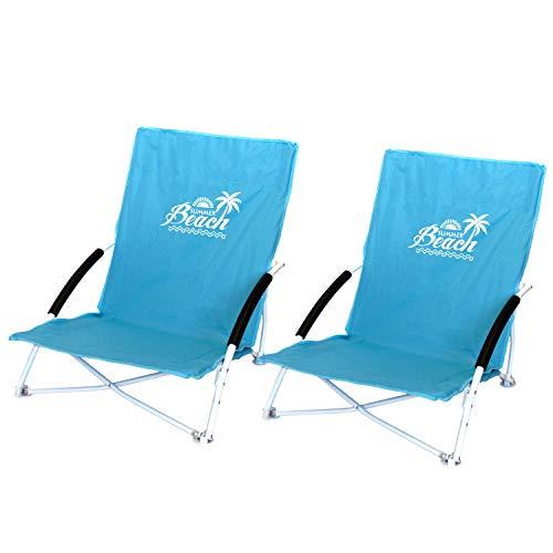 2 Stück Strandstuhl Summer-Beach inkl. Transporttasche Campingstuhl Gartenstuhl faltbar Blau Klappstuhl Anglerstuhl Faltstuhl