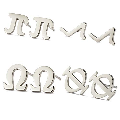 TEAMER Math Symbols Stud Earrings Stainless Steel Cute Novelty Daily Wearing Jewelry Gifts for Girls Women (Silver)