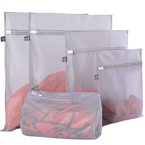 Netz-Wäschesäcke für Feinwäsche mit Premium-Reißverschluss, Reiselagerung Organisationstasche, Kleiderwaschbeutel für Wäsche, Bluse, BH, Kleid, T-Shirt, Unterwäsche, Dessous, Jeans (grau, 5 Stück)