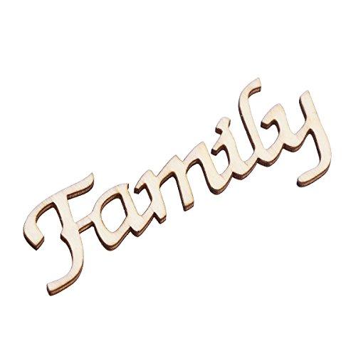 """Vosarea - Scritta in legno vintage, motivo """"Family"""", 11 x 4 x 0,2 cm"""