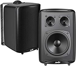 Moukey Passive 3-Way Indoor - Outdoor Speakers Pair, Waterproof Stereo Bookshelf Speakers with Powerful Bass, All-Weather Durability, Swivel Bracket, Expansive Stereo Sound Coverage - M20-2