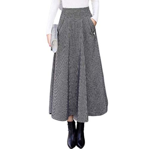 Damskie w kratę wełniane spódnice wysoka talia rozszerzana długa spódnica jesień zima plisowana ciepła wełna retro duże huśtawki Maxi spódnice z kieszeniami, czarno-biała siatka, S