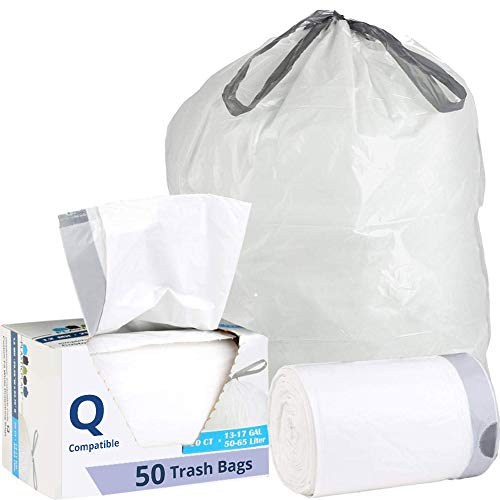 Plasticplace Custom Fit Trash Bags│Simplehuman Code Q Compatible (50 Count)│White Drawstring Garbage Liners 13-17 Gallon/40-65 Liter│25.25' x 32.75'