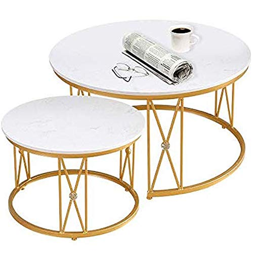 GRXXX Coffee Tables Nesting Coffees End Tables, Marble Top Modern Furniture Decor Side Table, Round Occasional Stand Tea Table for Living Room Home And Office