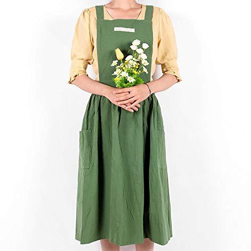 HPPSLT Schürze Frauen-Baumwollleinen Latzschürze Stil Ärmel Home Küche Kaffee Florist Schürzen Kleid-2 Kochschürze (Color : 2)