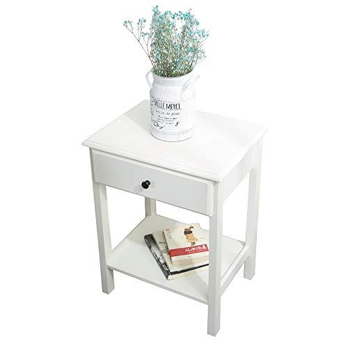 Etnicart – Mesita de noche de madera MDF blanco y mesa para sofá y salón mesa de café 46 x 35 x 60 cm – Producto de calidad