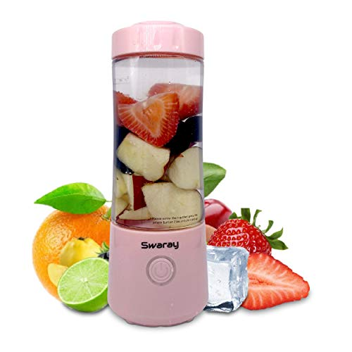 Swaray Portable Blender, 13.5 Oz Personal Size Blender, Juicer Cup for Juice, Crushed Ice, Smoothies and Shakes, 4000mAh USB Rechargeable with Six Blades, Mini Blender for Travel, Gym, Sports, Office, and Outdoors (Pink)