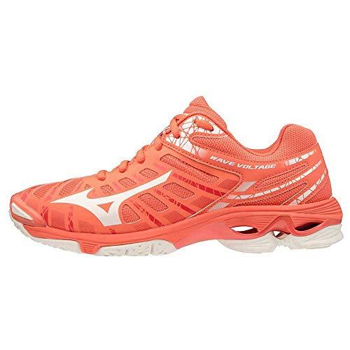 Mizuno Voltage, Zapatillas de vóleibol Mujer, Livingcoral Snowwht Wht, 37 EU