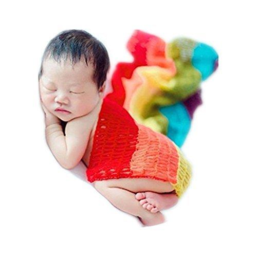 Fashion Newborn Boy Girl Baby Photography Props Blanket Rainbow Long Ripple Wrap