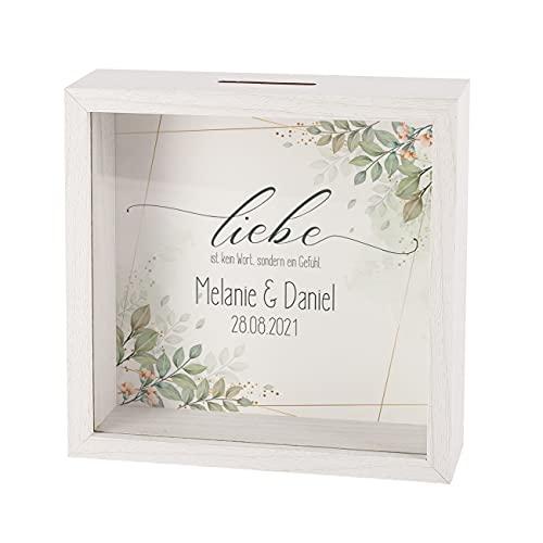 Herz & Heim® Geldgeschenk zur Hochzeit Spardose im Bilderrahmen mit Namen der Eheleute und Datum