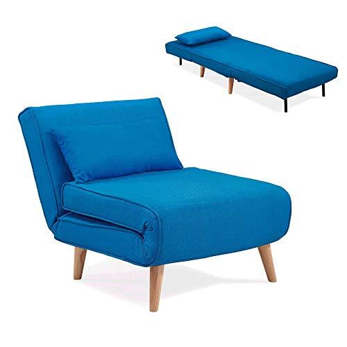 DecoInParis Fauteuil Convertible en Tissu Tonka (Bleu)