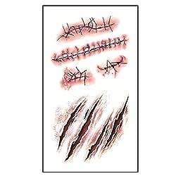 Ofertas Tienda de maquillaje: Sangrienta de Halloween tatuaje se ve natural y realista, se sentirá como si estuvieran realmente en la piel, gran truco para asombrar y asustar a sus amigos variedad realista y sangrienta de estilos para lo que necesite. Se pueden adjuntar a cualqui...