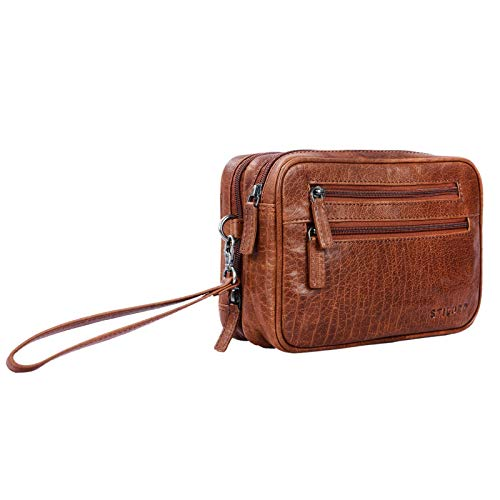 STILORD'Nero' Handgelenktasche Herren Leder mit Doppelkammer Vintage Handtasche für 8,4 Zoll Tablets ideal für Reisen Festival Herrenhandtasche echtes Leder, Farbe:Brandy - braun