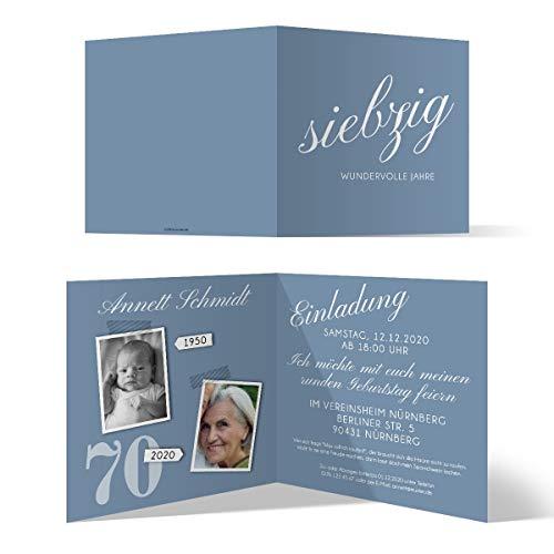30 x Runder 70. Geburtstag Einladungskarten Geburtstagseinladungen - siebzig wundervolle Jahre
