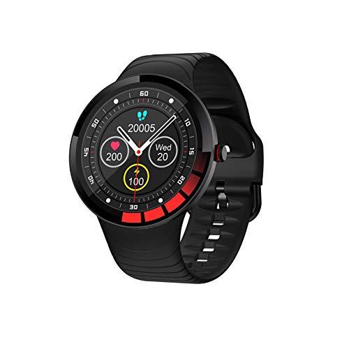 Reloj Inteligente Compatible con Teléfono Android iOS, Reloj Inteligente Resistente Agua, Rastreador Actividad Física con Monitor Frecuencia Cardíaca, Presión Arterial Y Sueño, Negro