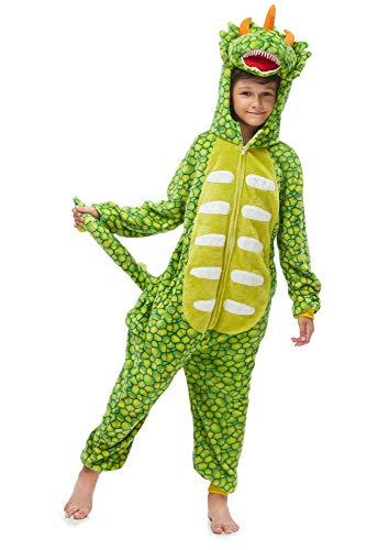 emmarcon Kigurumi Pigiami Animali da Bimbi Bambini Tuta Costume Carnevale Halloween Festa Cosplay unisex-130/altezza 125-135-Dinosauro Verde chiaro/130