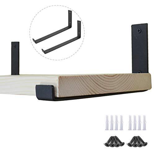AddGrace Regalwinkel, aus Eisen, L-Form, Wandmontage, mit Schrauben für Holzbrett, Schwarz 10 inch schwarz