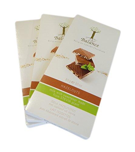 Stevia Schokolade LUXURY - Haselnuss Schoko ohne Zuckerzusatz - 3 x 85 g