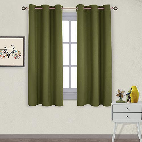 NICETOWN Window Decoration Thermal Insulated Solid Grommet Blackout Curtains/Drapes for Living Room (1 Pair, 42 by 63 inches, Olive Green)