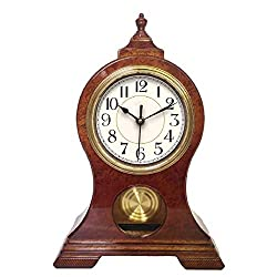 Beesealy Mantel Clock, Modern Silent Mantel Clock, Mantle Clock with Pendulum, Used for Living Room Decoration, Desktop, Desk Clock