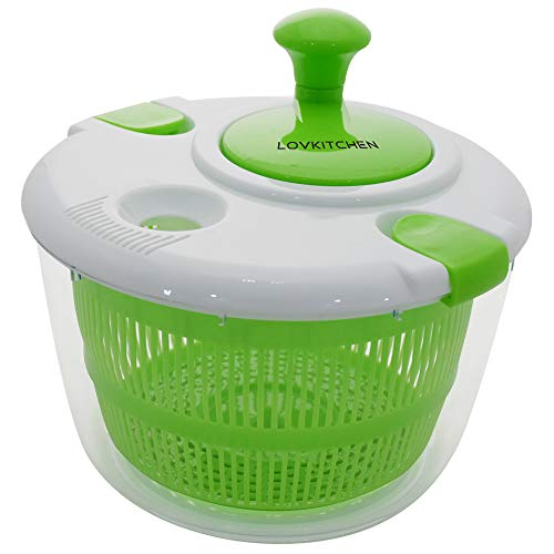 Salad Spinner Dryer, LOVKITCHEN 5L Cooking Grips Large Salad Spinner, Easy Spin for Tastier Salads & Dishwasher Safe