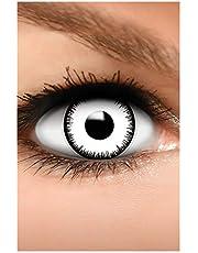 FUNZERA Gekleurde Halloween Contactlenzen, Zachte Motief lens voor chique Jurk Kostuum, 2 stuks, 1 paar, Eenmalig gebruik zonder voorschrift, 2 stuks 1 Paar - Verkleed je als VAMPIER - Wit