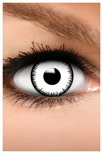FUNZERA Farbige Halloween Kontaktlinsen weiß VAMPIR, weich, 2 Stück (1 Paar), Ohne Sehstärke