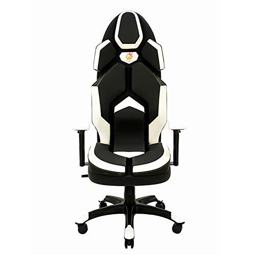 Silla Gaming, Oficina Escritorio Silla con Ruedas Sillas De Juveniles, PC Despacho Ergonomica Chair, SillóN Reclinable Giratorio Elevable Ajustable De 130 °, 7 Colores,Blanco