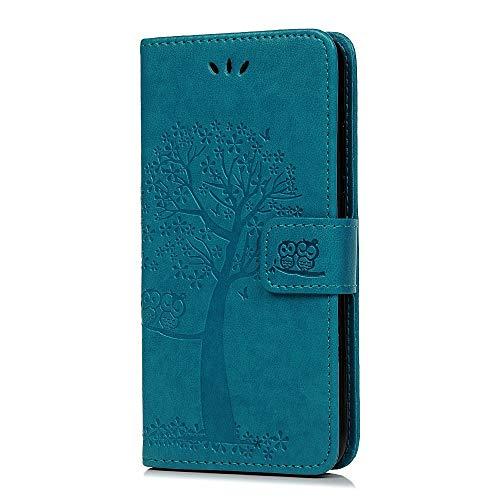 Reevermap Samsung Galaxy A20E Hülle, Lederhülle Handy Wallet Flip Leder Hülle Tasche Brieftasche Etui Standfunktion Schutzhülle für Samsung Galaxy A20E Eulenbaum im Bookstyle, Blau