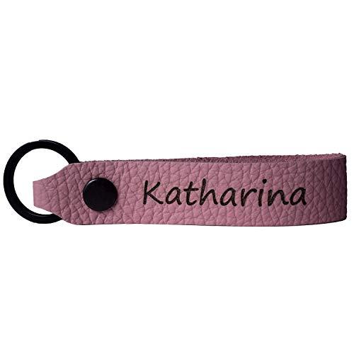 Leder Schlüsselanhänger mit Name Wunschname personalisiert individuell farbig Gravur Rosa