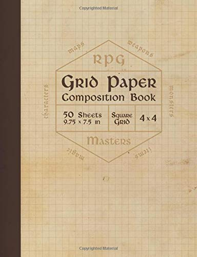 RPG Grid Paper Composition Book: Bl…