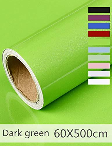 Hode Papel Adhesivo para Muebles Vinilos Adhesivo para Muebles Puertas Ventanas Pegatina de Vinilo Adhesivo Muebles 60X500cm (Verde Oscuro)