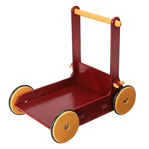 MICROSHE Gehfrei Walker Holz L-Form Baby-Push-Walker Schritt Helper frühes pädagogisches Spielzeug Prolongation Prävention for Kinder 6-7-19 Monat Rot (Farbe : Rot, Größe : 45x43x31cm)