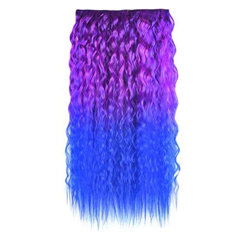 Perruque de cheveux duveteux pour femme une pièce vague permanente longue perruque frisée bicolore postiches de couleur Extensions de cheveux Cosplay, bleu violet