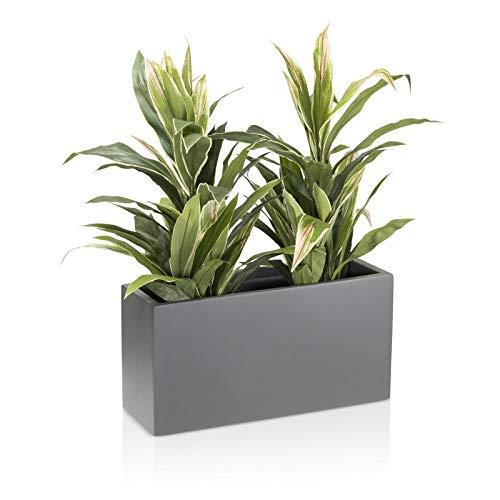 Vaso per piante Fioriera Vaso per fiori VISIO in fibra di vetro - Colore: grigio opaco - grande vaso per piante resistente alle intemperie e all'inverno da esterno e interno