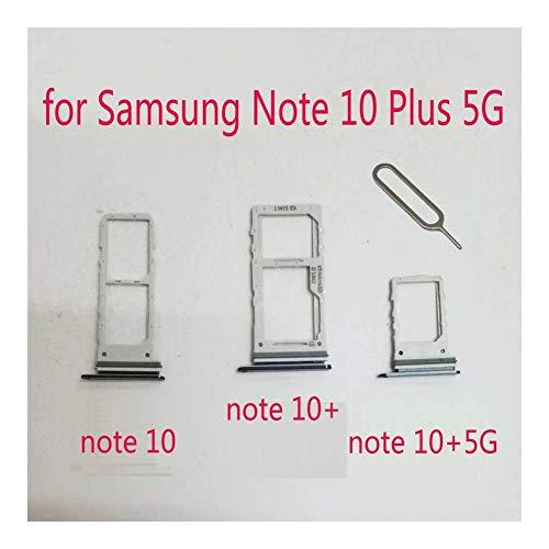 JLZK Buen Estado Titular de la Tarjeta SIM Bandeja SD For Samsung Nota 10 Ranura Adaptador SD Galaxy Nota 10 El teléfono Original Vivienda Micro Plus 10+ 5G Tarjetas. (Color : Note 10 Black)