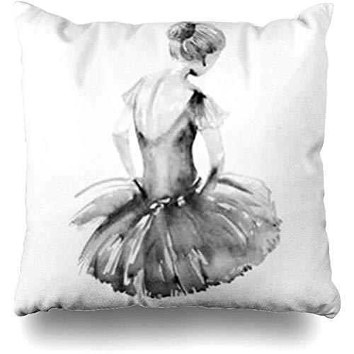 Niet van toepassing Gooi Kussenslopen, Profiel Handtekening Aquarel Ballerina Ballet Schets Danser Zwart Wit Dansen Ballerina's Schoenen Gooi Kussenslopen 40x40cm