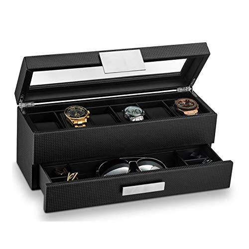 JIAYU Caja Relojes-Caja Reloj Caja De Almacenamiento Y Caja De Reloj De Exhibición para Hombres Soporte De Exhibición De Caja De Reloj Negro 6 Ranuras De Reloj De Doble Capa